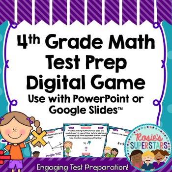 4th Grade Math Test Prep Digital Game - For PowerPoint and Google Slides™