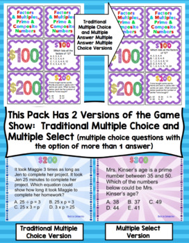 4th Grade Math Test Prep Game Show: Operations and Algebraic Thinking Review