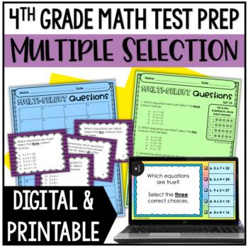 4th Grade Math Test Prep: Multiple Select Questions BUNDLE