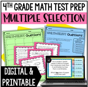 4th Grade Math Test Prep: Multiple Select Questions (Set 3)