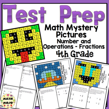 4th Grade Math Test Prep Mystery Pictures - Number and Operations - Fractions