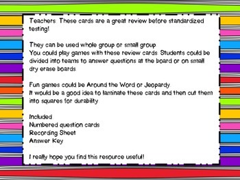 4th Grade Math Test Prep Review Question Cards CC, Georgia Milestones