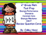 4th Grade Math Test Prep Review Question Cards CC, Georgia