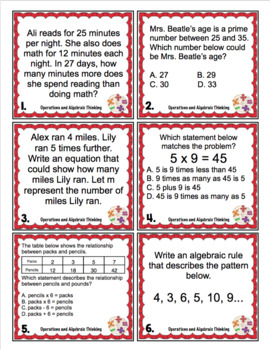 4th Grade Math Test Prep Scoot: Operations and Algebraic Thinking Review