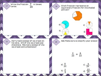 4th Grade Math Test Prep Task Cards - 4.NF ~ Set 3 {ROCK STARS EDITION}