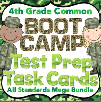 4th Grade Math Test Prep Task Cards (Boot Camp Theme)