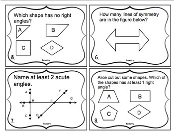 4th Grade Math Test Prep Task Cards (Geometry)