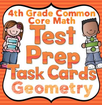 4th Grade Math Test Prep Task Cards (Geometry)