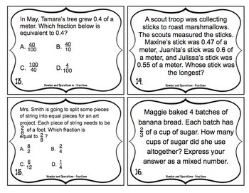 4th Grade Math Test Prep Task Cards (Number and Operations - Fractions)