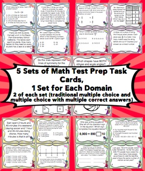 Math Test Prep Task Cards (Superhero Theme) 4th Grade