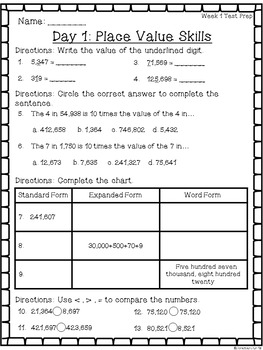 4th Grade Math Test Prep ~ Week 1 Skill Sheets ~ CCSS
