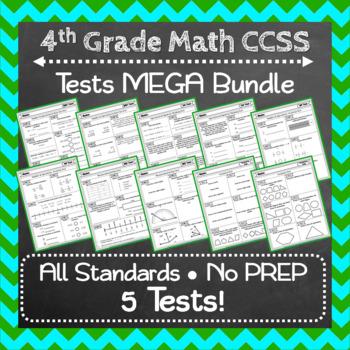 4th Grade Math Tests ⭐ Common-Core Aligned Assessments ⭐ Mega Bundle