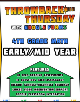4th Grade Math Review | Google Forms EARLY/MID YEAR with Detailed Feedback