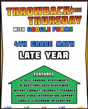 4th Grade Math Review   Google Forms LATE YEAR with Detailed Feedback