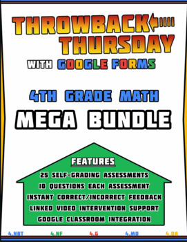4th Grade Math Review | Google Forms MEGA BUNDLE with Detailed Feedback
