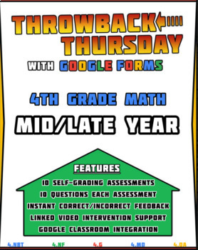 4th Grade Math Review | Google Forms MID/LATE YEAR with Detailed Feedback