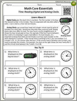 4th Grade Math Time and Money Worksheets Distance Learning ...
