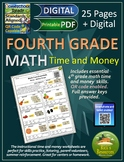 4th Grade Math Time and Money Worksheets - Print and Digital Versions