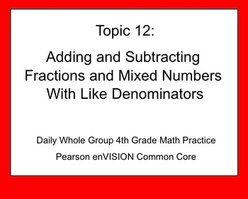 4th Grade Math: Topic 12 Guided Practice (Pearson enVISION