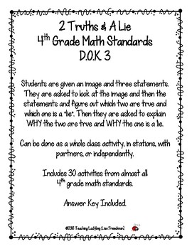 "30 Different 4th Grade Math Topics ""2 Truths & a Lie""  DOK 3"