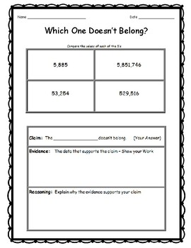 4th Grade Math Topics - Which One Doesn't Belong Critical Thinking  DOK 3