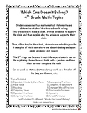 4th Grade Math Topics - Which One Doesn't Belong Critical