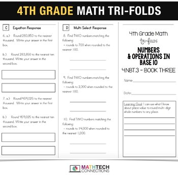 4th Grade Math TriFolds - 5 FREE Booklets for Guided Math or Math Assessments