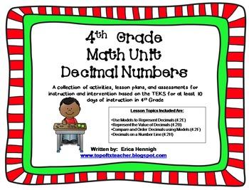 4th Grade Math Unit 2: Decimal Numbers TEKS Instruction &