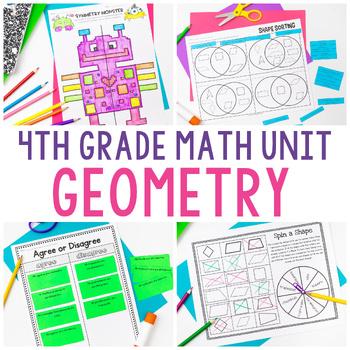 4th Grade Math Unit 7 - Geometry {angles, symmetry, lines, quadrilaterals}