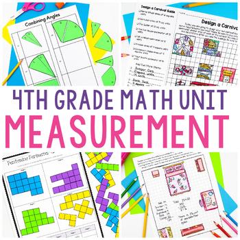4th Grade Math Unit 8 - Measurement {angles, area and perimeter, line plots}