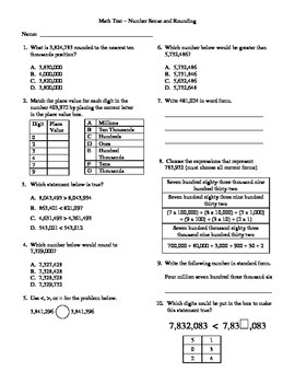 4th Grade Math Unit Test on Number Sense