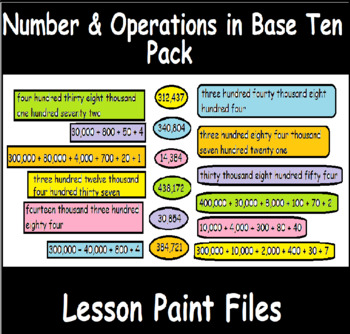 4th Grade Math Visual Lesson Plans: Number & Operations in Base Ten Pack