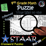 4th Grade Math Vocab STAAR Review~Crossword BUNDLE~Over 100 Terms~NO PREP