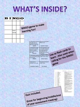4th Grade Math Vocabulary BINGO game (and quiz)