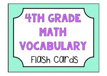 4th Grade Math Vocabulary Game/ Flash Cards (GRADE 4)