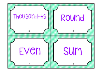 4th Grade Math Vocabulary Game/ Flash Cards (GRADE 4)