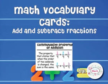 4th Grade Math Vocabulary Cards: Add and Subtract Fractions