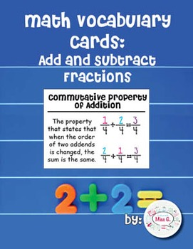 4th Grade Math Vocabulary Cards: Add and Subtract Fractions (Large)