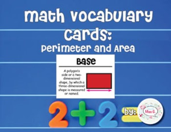 4th Grade Math Vocabulary Cards: Algebra: Perimeter and Area