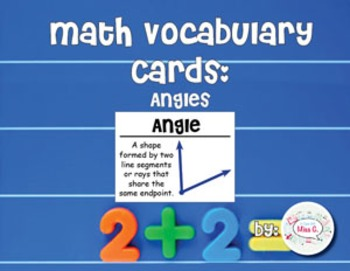4th Grade Math Vocabulary Cards: Angles