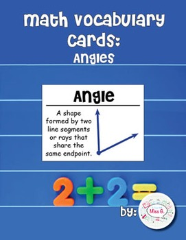 4th Grade Math Vocabulary Cards: Angles (Large)