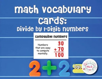 4th Grade Math Vocabulary Cards: Divide by 1-Digit Numbers