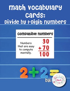 4th Grade Math Vocabulary Cards: Divide by 1-Digit Numbers  (Large)
