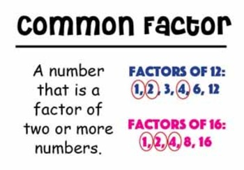 4th Grade Math Vocabulary Cards: Factors, Multiples, and Patterns (Large)