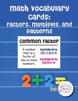 4th Grade Math Vocabulary Cards: Factors, Multiples, and P