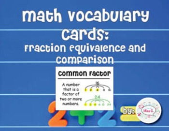 4th Grade Math Vocabulary Cards: Fraction Equivalence and Comparison