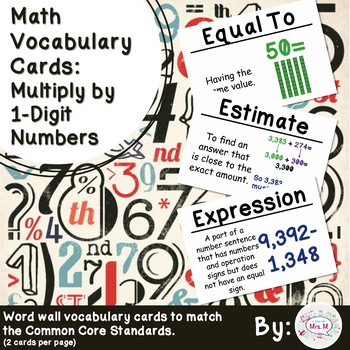4th Grade Math Vocabulary Cards: Multiply By 1-Digit Numbers (L)