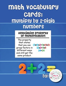 4th Grade Math Vocabulary Cards: Multiply By 2-Digit Numbers (L)