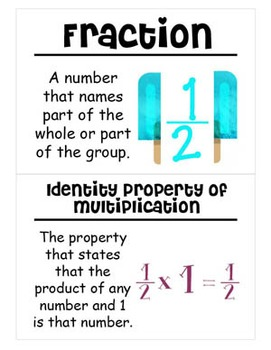 4th Grade Math Vocabulary Cards: Multiply Fractions by Whole Numbers (Large)