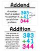 4th Grade Math Vocabulary Cards: Place Value, Addition/Sub